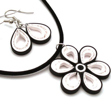 Black and White Malaysian Flower Necklace and Simple Paper Quilled Drop Earrings