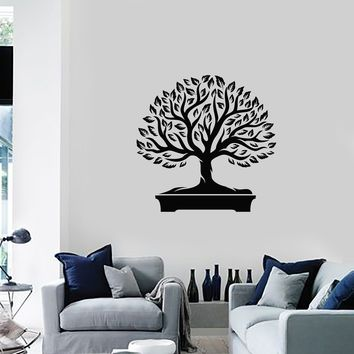 Vinyl Wall Decal Bonsai Tree Japanese Home Interior Japan Art Stickers Mural (ig5684)