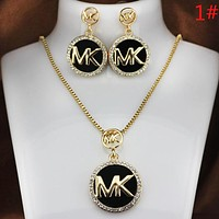 MK Michael Kors New fashion diamond earring and necklace two piece suit women