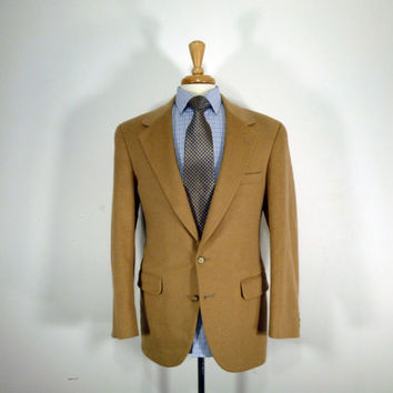 Vintage mens blazer sport coat jacket by Branford and Taylor Camel Cashmere Textured 42
