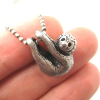 Sloth Baby Animal Pendant Necklace Realistic and Cute in Silver
