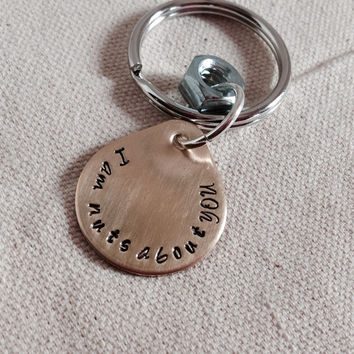 MothersDaySale PERSONALISED hand stamped keychain. Nuts about you. Brass, bronze teardrop key tag. Steel nut. Gift for spouse, boyfriend, co