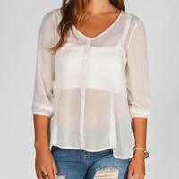 Fire Chiffon Lace Womens Peasant Top Cream  In Sizes