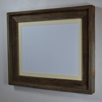 11x14 upcycled wood picture frame complete with mat for 8x10,9x12,8x12,7x9 or 8 1/2 x 11