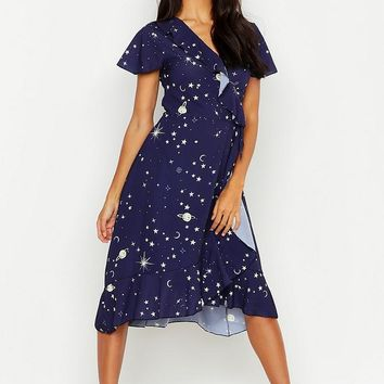 Cosmo Print Ruffle Tea Dress | Boohoo