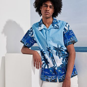 Men Tropical Print Hawaiian Shirt