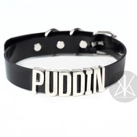 "Harley Quinn ""PUDDIN"" Choker - Skinny Letters - SILVER"