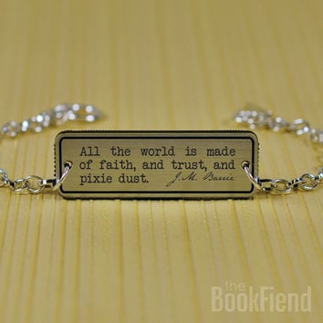 all the world ... pixie dust Peter Pan acrylic engraved bracelet