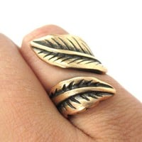 Classic Leaves Wrapped Around Your Finger Shaped Floral Ring in Bronze | Size 6