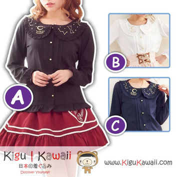 New Fancy Kawaii Star Knitted Tops Blouse Comfortable Fashionable High Quality 3 Colors KK710