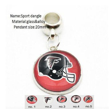 20PCS Stainless Steel Vintage Atlanta Falcons Dangle Charm With Big Hole Beads DIY Accessories For Bracelet&Necklace