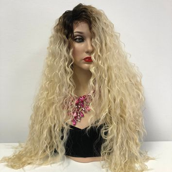 Blond Swiss Ombre Wavy Front Lace Wig | Long Wavy Soft Layered Hair | Coretta