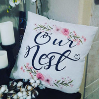 Our nest pillow cover, Watercolor throw pillow, Decorative Pillows,Throw Pillow Cover, Inked pillow cover, wedding gift