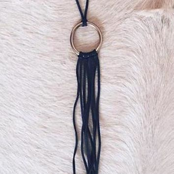Lakota Leather Fringe Necklace