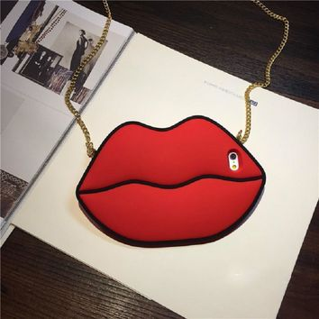 3D Soft Silicone Phone Case 2017 Newest  Hot Cartoon Cute Red Lip Patterned With Lanyard Thick  For iPhone 7 6 6S Plus Case