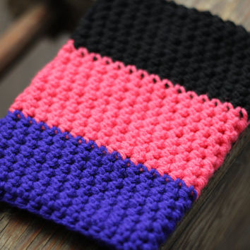 Black, Pink and Purple Crocheted iPad Mini Cozy, iPad Mini Case, iPad Mini Sleeve