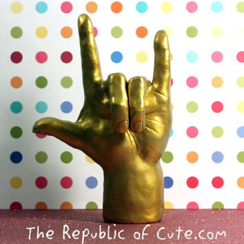 Golden Hand Sculpture or Wedding Cake Topper - I Love You sign in ASL - Hand Sculpted with Polymer Clay