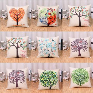 2016 Hot Sale Casual Pastoral Life Tree Digital Floral Printed Pillow Cover Cotton Linen Office House Sofa Cushion Cover 45*45CM