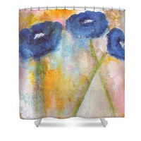Temporary Crossroads- Floral Art by Linda Woods Shower Curtain