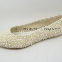 Ivory Pearl Bellerina / Ballet Flat Shoes Any Size Bridal & Bridesmaid Evening Shoes Wedding
