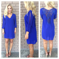 Crochet Back Slit Sleeve Dress - ROYAL BLUE