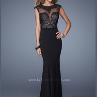 Cap Sleeves Embroidered Floor Length La Femme Prom Dress 21110