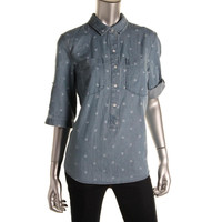 Tommy Hilfiger Womens Chambray Printed Blouse
