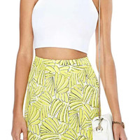 ROMWE Bananas Print Bodycon Zippered Yellow Skirt