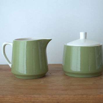 Mid Century Mod Green Sugar Bowl and Creamer Set