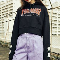 One-nice™ Thrasher Fashion Embroidery Rose Long Sleeve Top Sweater Pullover Sweatshirt Hoodie