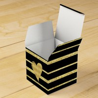 Glam Gold and Black Striped Heart Favor Box