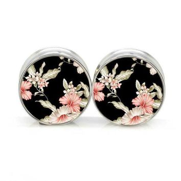 ac PEAPO2Q 1 pair PAIR Black Floral stainless steel night owl plug tunnels double flare ear plug gauges body piercing jewelry