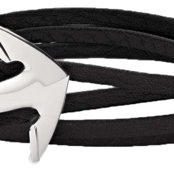 Italian Leather and Silver Anchor Wrap Bracelet
