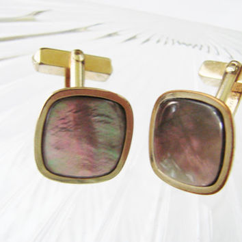 Retro Swank Abalone Gold Filled Cufflinks / Mid Century /  Designer Signed / Vintage Wedding / Jewelry / Jewellery