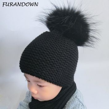 FURANDOWN Baby Beanie Hat Kids Winter Raccoon Fox Fur Hats For Children Girls Boys Fur pompom Ball Beanies Crochet Cap