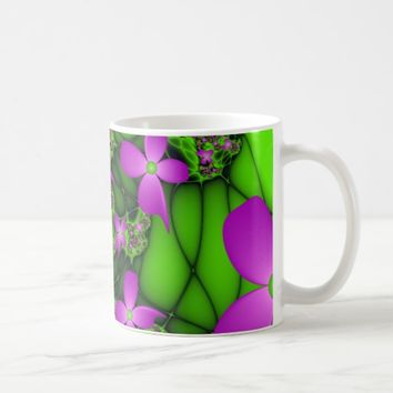 Modern Abstract Neon Pink Green Fractal Flowers Coffee Mug
