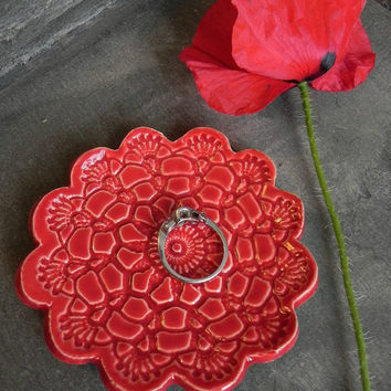 Valentine's Day Ceramic Flower Plate Poppy Red Dish Lace Pattern Ring Holder Valentine Pottery