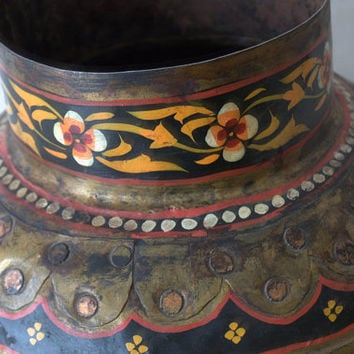 Black Hand Painted Metal Vase, Tribal Pieced Metal Pot, Floral Painted Indian Metal Vase