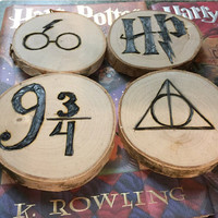 Harry Potter wood burned coaster set