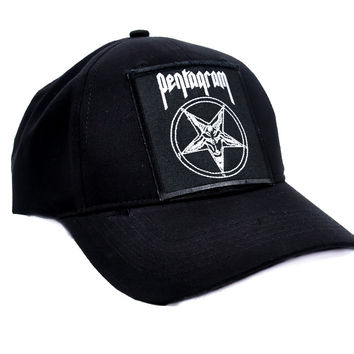 Pentagram with Baphomet Hat Baseball Cap Alternative Metal Clothing Occult