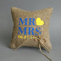 Wedding rustic natural linen Ring Bearer Pillow Mr and Mrs text and yellow heart