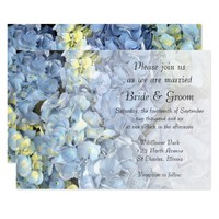 Blue Hydrangea Floral Wedding Invitation