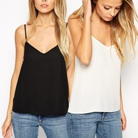 ASOS Woven Cami Top 2 Pack SAVE 17% at asos.com