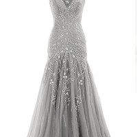 Queensroyal Gorgeous Floor-Length Trumpet V Neck Beaded Lace Up Evening Dress