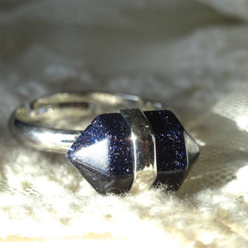 1- Blue Goldstone Gem Ring Adjustable Silver Blue Shimmer Stone Two Point Gem Silver Stone Blue Bullet Point Ring BuyDiy Fnished Jewelry
