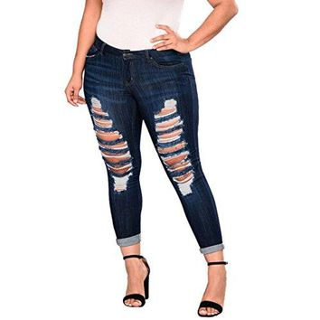 Women Plus Size Denim, SUKEQ Fashion Stretch Distressed Ripped Destroyed Taped Blue Skinny Denim Jeans Pants (XXXX-Large, Dark Blue)