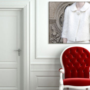 Canvas Gallery Wrap - New York Photography - Home Decor - Vintage Inspired Art - Winter White Wall Art - Vintage Fashion Picture