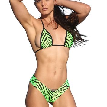 Neon Green Zebra Print Two Piece Short Set-Stripper Clothing