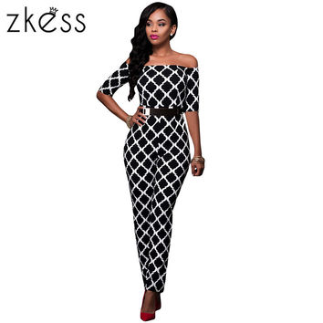 Autumn Women Jumpsuit Long Pants Romper 2017 Half Sleeve Plaid Slash Neck Sexy Belt Sash Elegant Slim Jumpsuits Overall LC64179