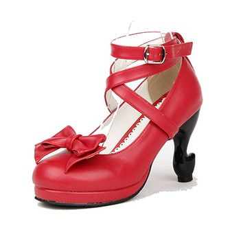 Red 85MM Heel Ankle-High Round-Toe Lolita Shoes
